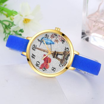 GAIETY G291 Ladies Fashion Tower Analog Quartz Silicone Wrist Watch - BLUE