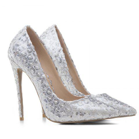 eb0acb133d8 Women s Shoes Pointed Toe Pump Customized Materials Stiletto Heel Sequin -  SILVER 42