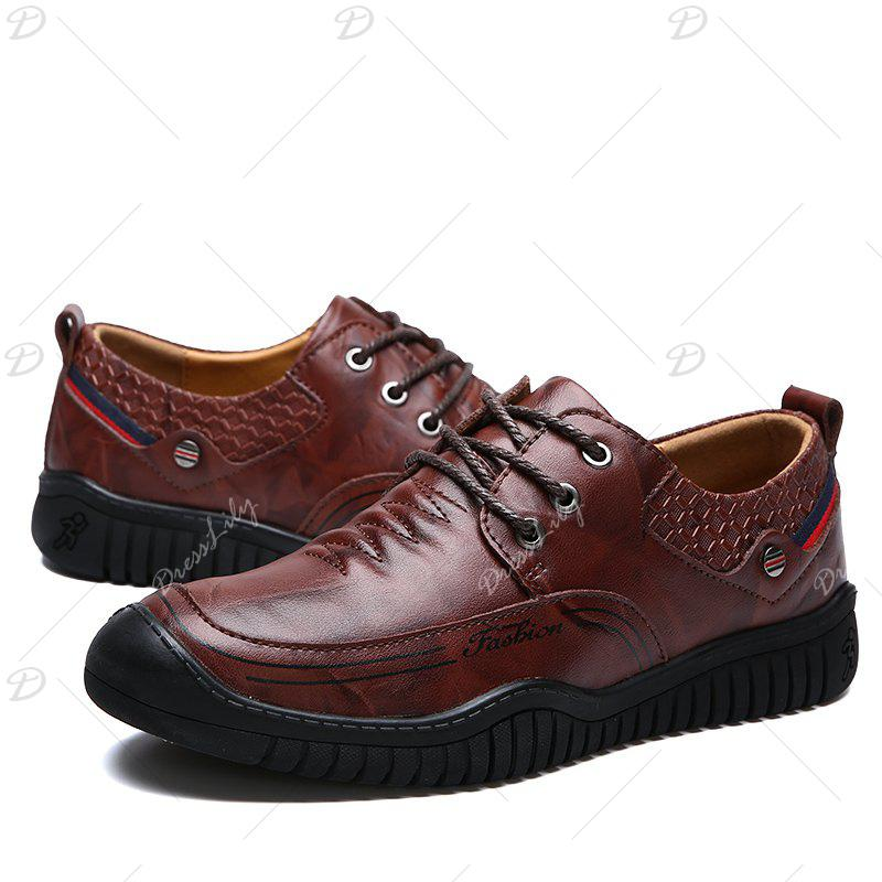 2017 New Men Autumn Winter Wear Resisting Genuine Leather Business Flat Shoes - REDDISH BROWN 42