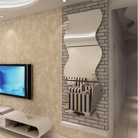 Wave Stereoscopic Mirror Wall Sticker Creative Housing Decoration for TV Background - SILVER