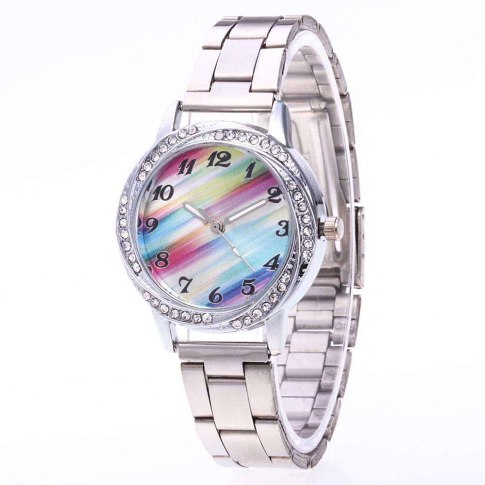 Rainbow Pattern Female Watch Steel Strap Classic Diamond Watch with Gift Box female watch