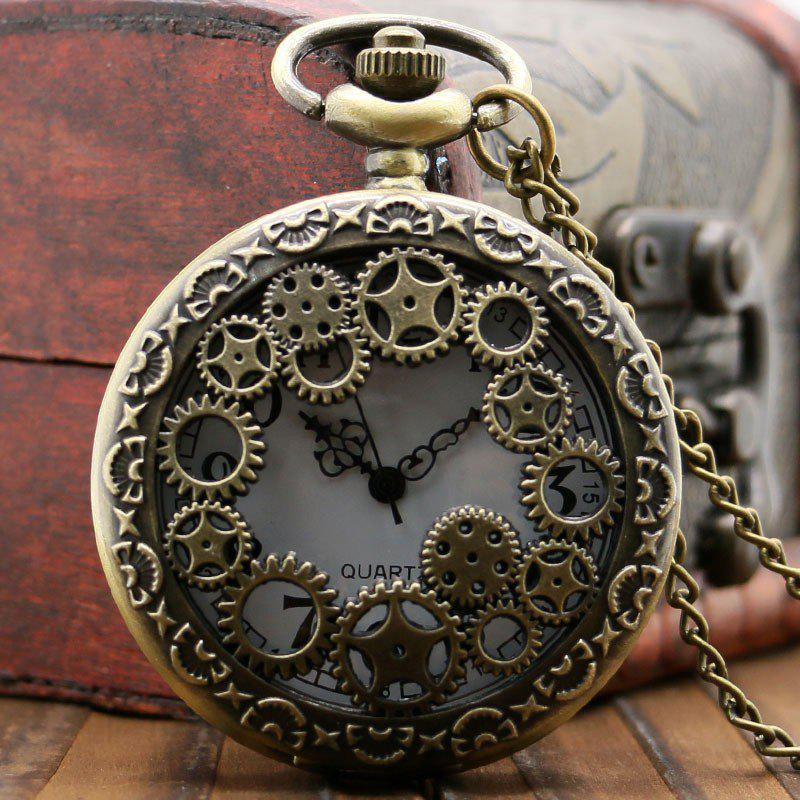 REEBONZ Steampunk Vintage Bronze Gear Hollow Quartz Pocket Watch Necklace Pendant antique retro bronze car truck pattern quartz pocket watch necklace pendant gift with chain for men and women gift