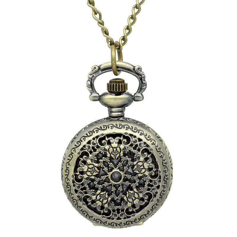 REEBONZ Steampunk Vintage Flower Hollow Quartz Pocket Watch Necklace Pendant45 - COPPER COLOR
