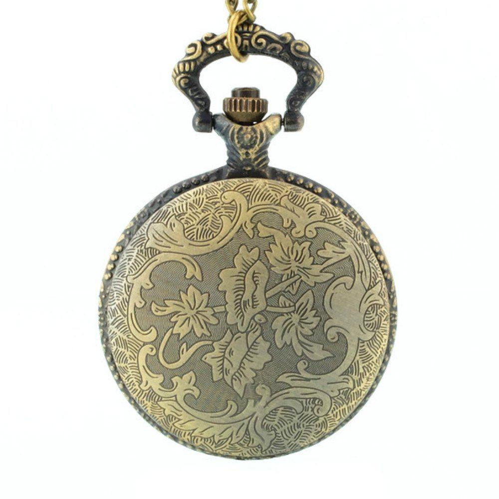REEBONZ Steampunk Vintage Flower Quartz Pocket Watch Necklace Pendant46 - COPPER COLOR