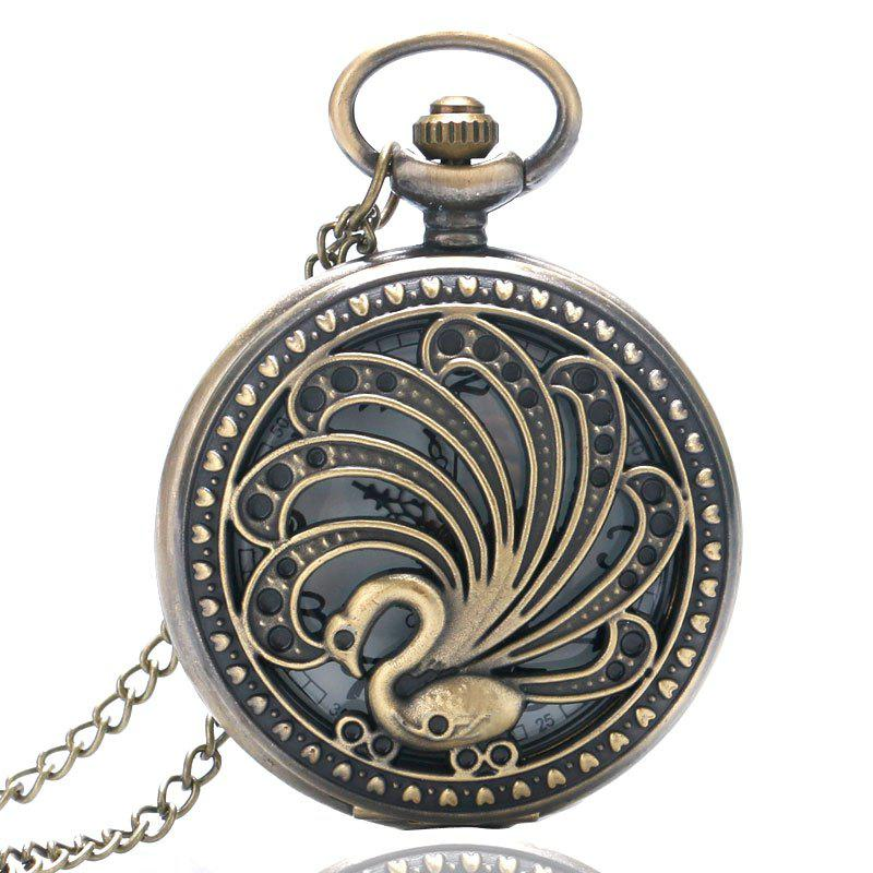REEBONZ Steampunk Vintage Peacock Hollow Quartz Pocket Watch Necklace Pendant - COPPER COLOR