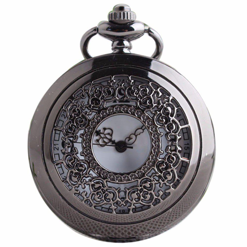 REEBONZ Steampunk Vintage Hollow Silver Quartz Pocket Watch Necklace Pendant - BLACK