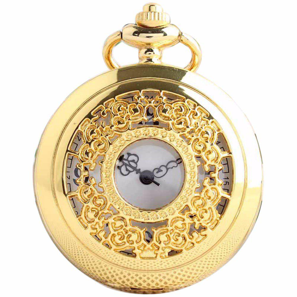 REEBONZ Steampunk Vintage Hollow Silver Quartz Pocket Watch Necklace Pendant - GOLDEN