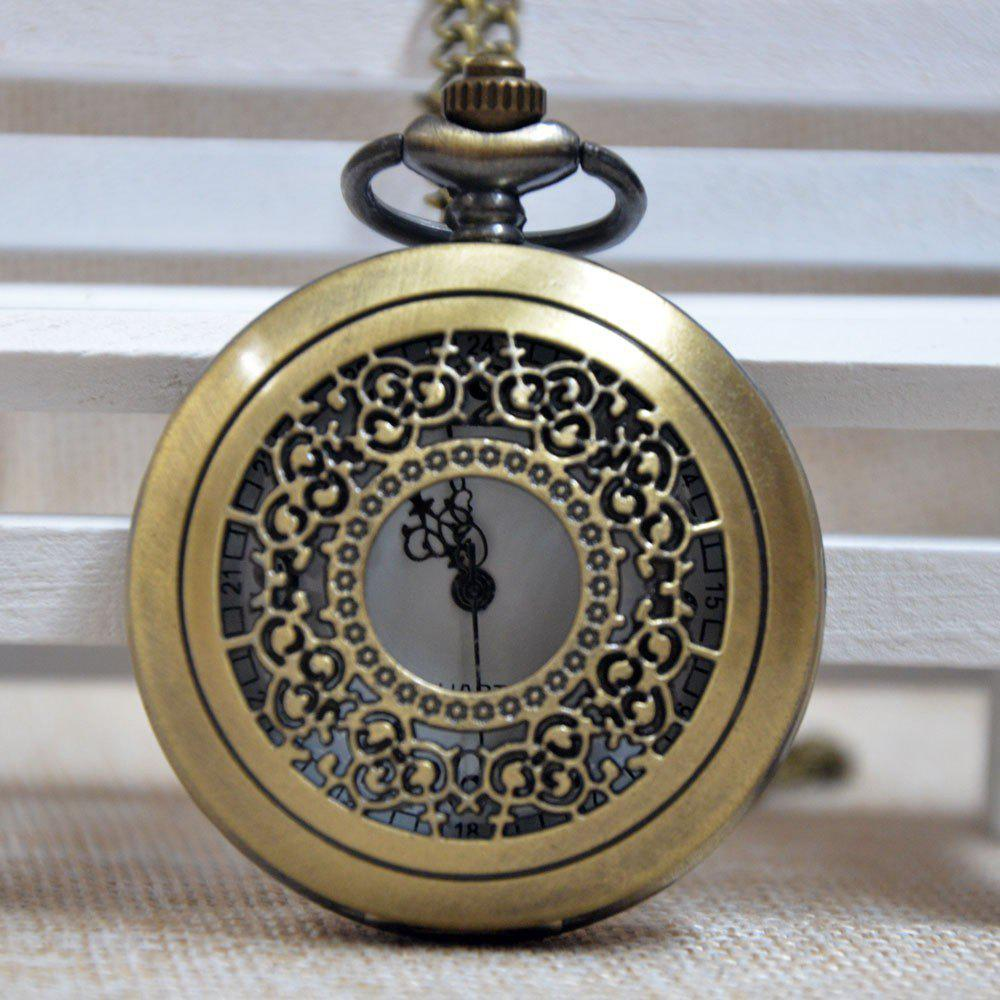REEBONZ Steampunk Vintage Hollow Silver Quartz Pocket Watch Necklace Pendant - COPPER COLOR