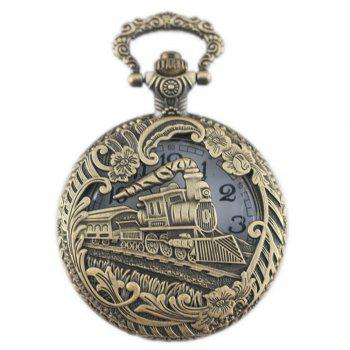 REEBONZ Steampunk Vintage Hollow Train Quartz Pocket Watch Necklace Pendant49 - COPPER COLOR COPPER COLOR