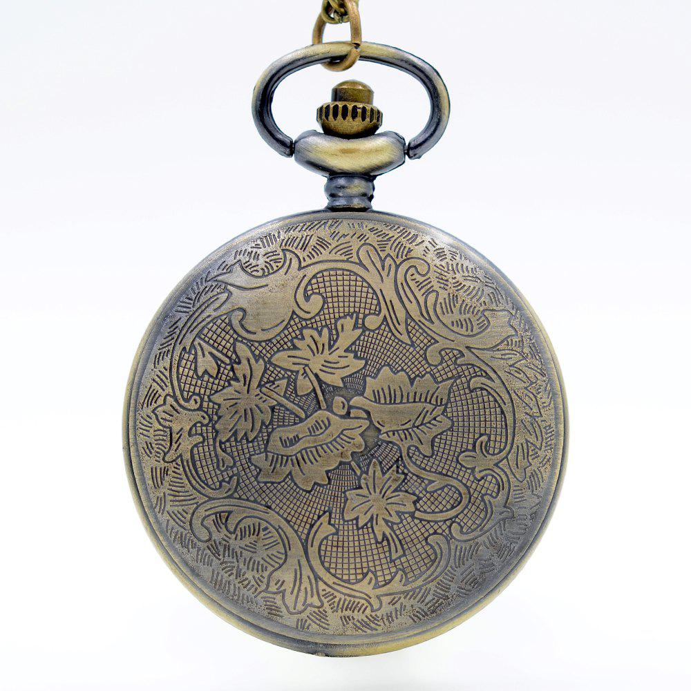 REEBONZ Steampunk Vintage Hollow Train Quartz Pocket Watch Necklace Pendant49 - COPPER COLOR