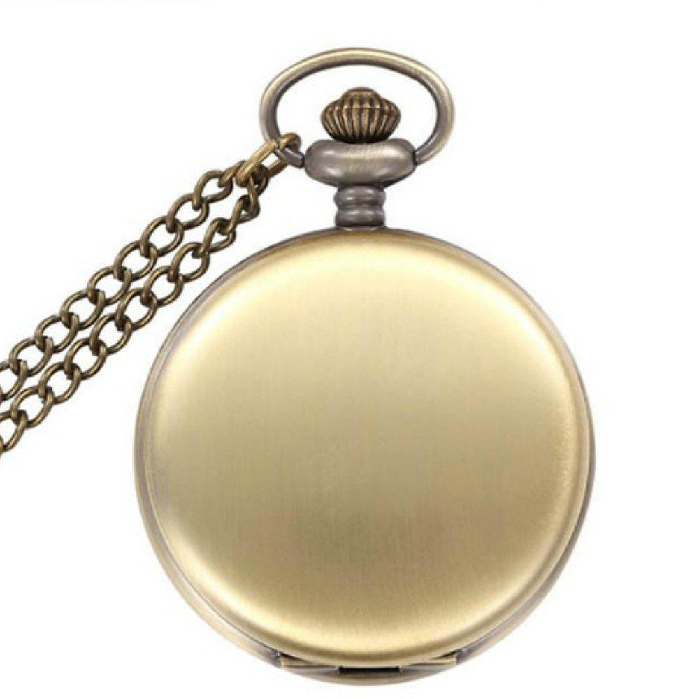 REEBONZ Steampunk Fashion Mirror Quartz Pocket Watch Necklace Pendant 4 design bronze vintage quartz pocket watch free mason sword art online gear necklace pendant chain womens mens gifts p1123