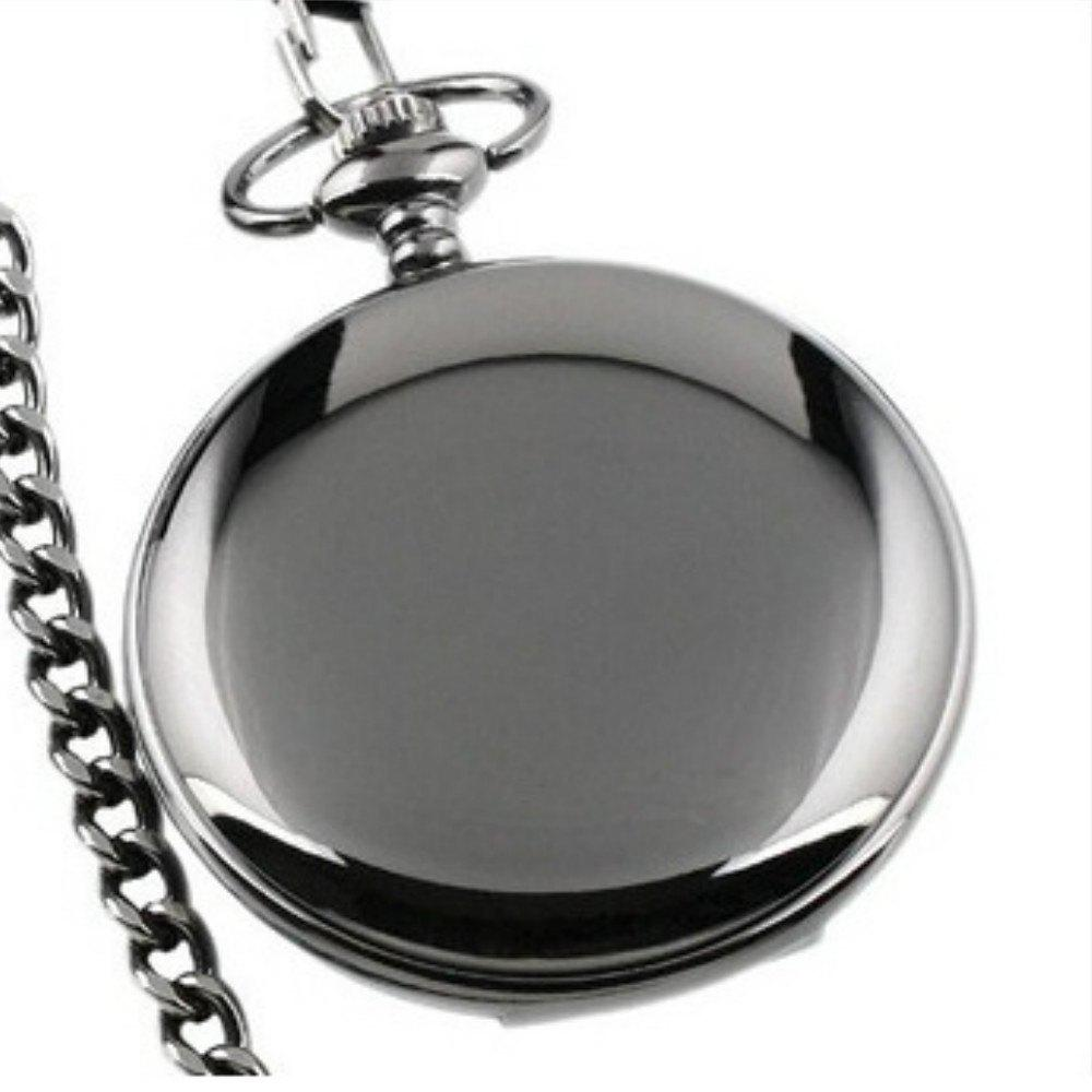 REEBONZ Steampunk Fashion Mirror Quartz Pocket Watch Necklace Pendant - BLACK