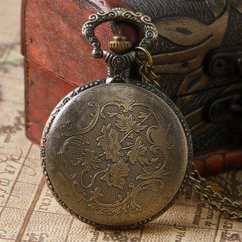 REEBONZ Steampunk Vintage Hollow Dog Quartz Pocket Watch Necklace Pendant53 - COPPER COLOR