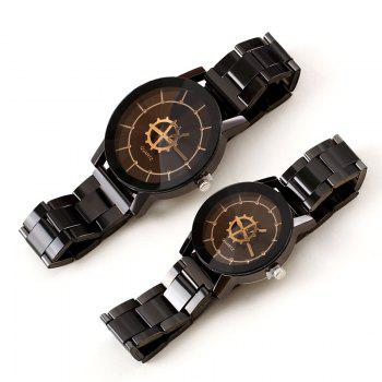 REEBONZ Vintage Gun Black Gear Quartz Man Watch - BLACK SIZE S