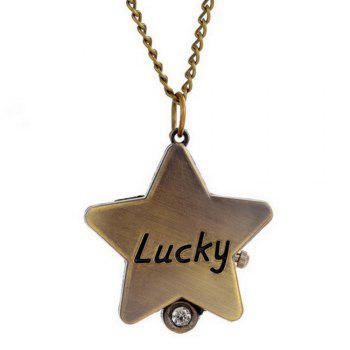 REEBONZ Vintage Lucky Star Quartz Pocket Watch Necklace Pendant - COPPER COLOR COPPER COLOR