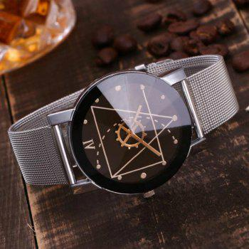 REEBONZ Stainless Steel Mesh Band Marble Strap Analog Quartz Wrist Watch - BLACK
