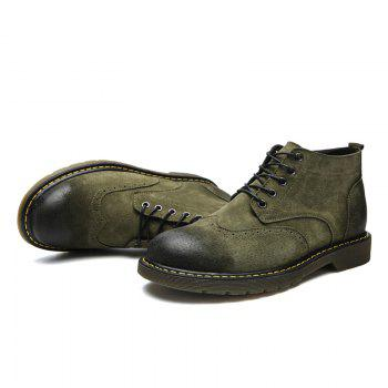 Four Seasons Pigskin Rubber Bottom Bullock Style Men'S Casual Leather Shoes930 - GREEN 40