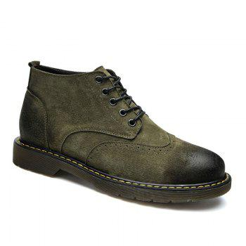 Four Seasons Pigskin Rubber Bottom Bullock Style Men'S Casual Leather Shoes930 - GREEN GREEN