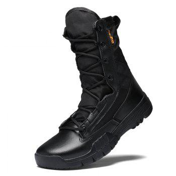 Autumn and Winter Cattle Fiber Stitching Rubber Bottom Men'S Army Boots - BLACK 38