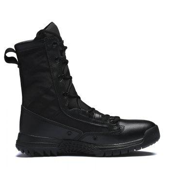 Autumn and Winter Cattle Fiber Stitching Rubber Bottom Men'S Army Boots - BLACK BLACK
