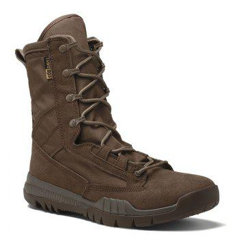 Autumn and Winter Cattle Fiber Stitching Rubber Bottom Men'S Army Boots - BROWN BROWN