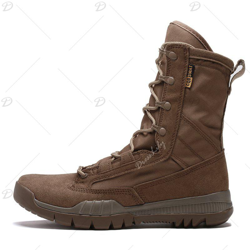 Autumn and Winter Cattle Fiber Stitching Rubber Bottom Men'S Army Boots - BROWN 38