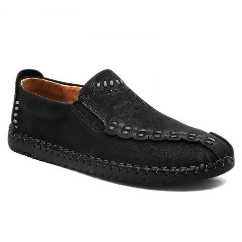 Four Seasons Cattle Hide Two Layers of Leather Rubber Bottom Men'S Handmade Sewing and Leisure Leather Shoes 666 - BLACK 44