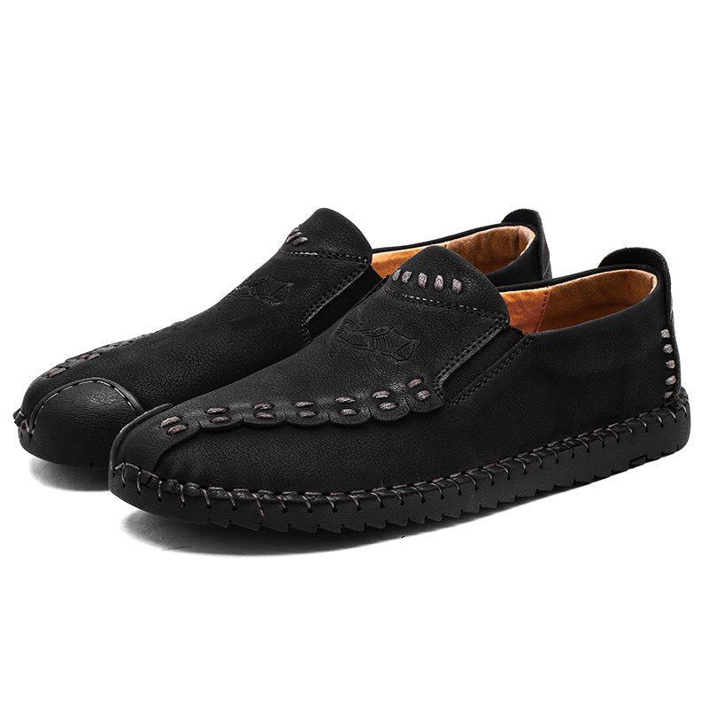 Four Seasons Cattle Hide Two Layers of Leather Rubber Bottom Men'S Handmade Sewing and Leisure Leather Shoes 666 - BLACK 40