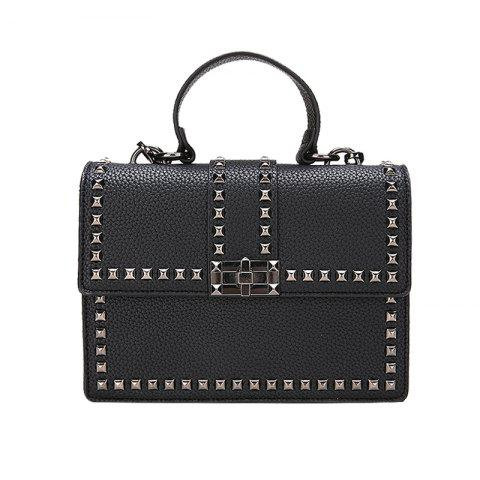 Small Rivet Bag Shoulder Messenger Bag Handbag - BLACK
