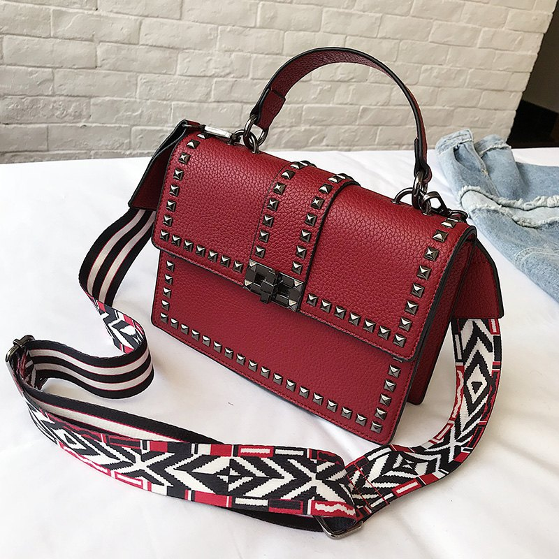 Small Rivet Bag Shoulder Messenger Bag Handbag - RED