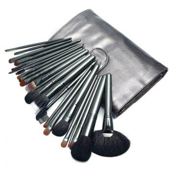 26PCS Makeup Brush Set Professional Animal Hair - GUN METAL