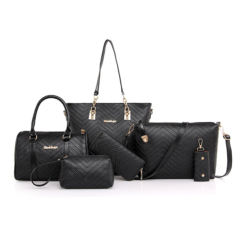 Six-piece New Style Grain One Shoulder Bag Handbag - BLACK VERTICAL