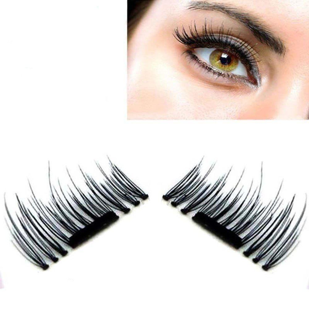 New Natural 3D Long Magnetic Eyelash EyeLashes Women Fashion Handmade Sparse Eye Lash Extension Soft Makeup Fal - BLACK