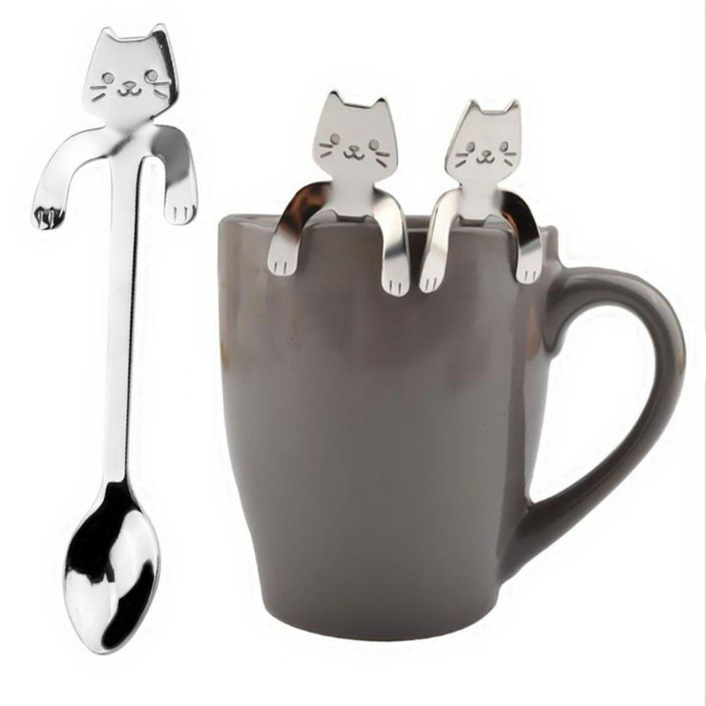1 Piece Cute Cat Spoon Long Handle Spoons Flatware Drinking Tools Kitchen Gadgets
