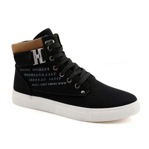 RM862 Men's Sneakers Vintage Letter Themed High Top Lightweight Shoes - BLACK 38