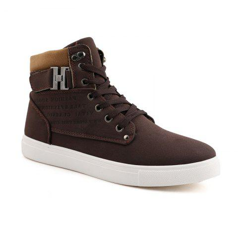 RM862 Men's Sneakers Vintage Letter Themed High Top Lightweight Shoes - BROWN 38