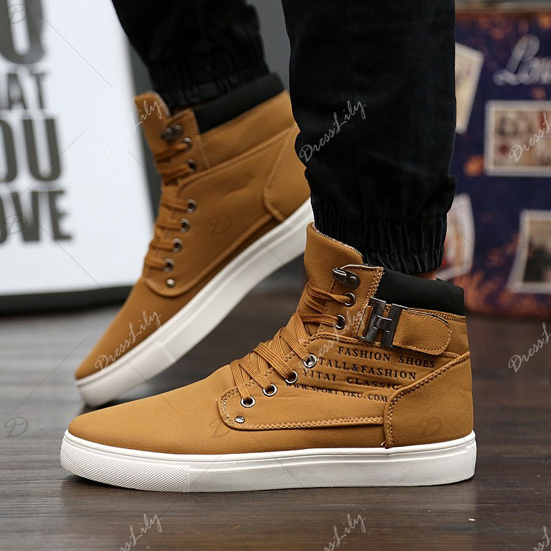 RM862 Men's Sneakers Vintage Letter Themed High Top Lightweight Shoes - KHAKI 38