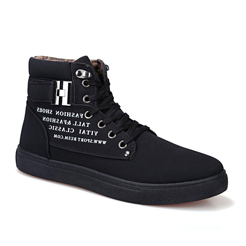 RM862 Men's Sneakers Vintage Letter Themed High Top Lightweight Shoes - FULL BLACK 38