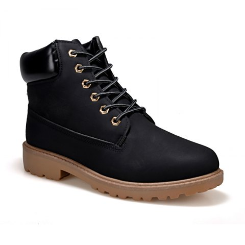 Men's Combat Style High Lace Up Casual Shoes - BLACK 36