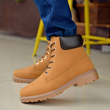 Men's Combat Style High Lace Up Casual Martin Shoes - YELLOW YELLOW