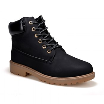 Men's Combat Style High Lace Up Casual Martin Shoes - BLACK BLACK