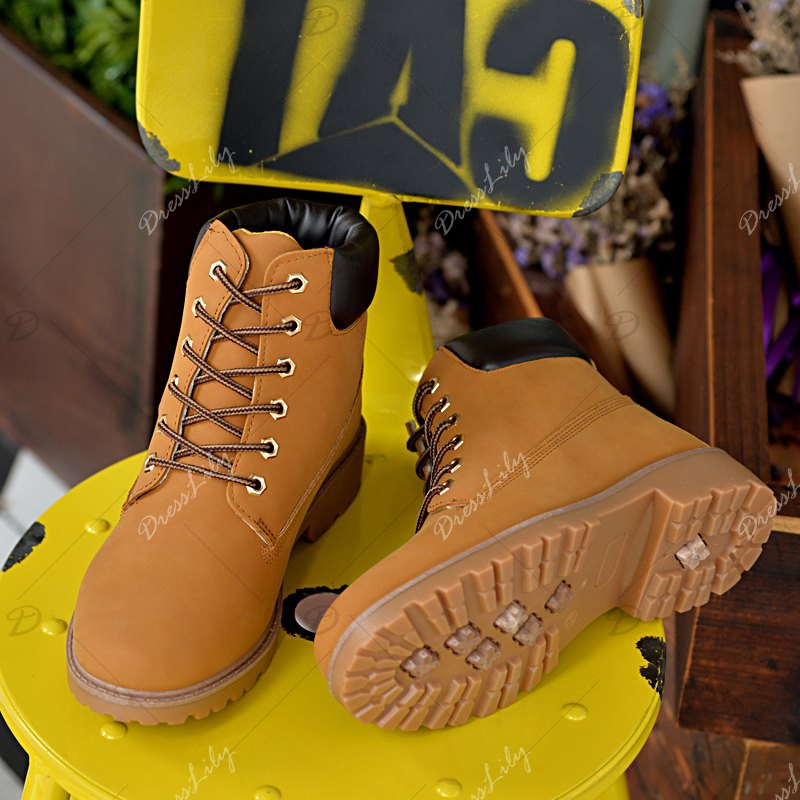 Men's Combat Style High Lace Up Casual Martin Shoes - YELLOW 36