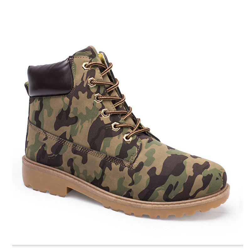Men's Combat Style High Lace Up Casual Martin Shoes - CAMOUFLAGE 36