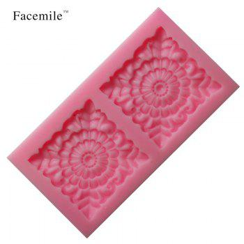 Square Rose Flower Fondant Mould Silicone Chocolate Soap Candle Mold Gift Decorating Impression Silicone Baking Pastry Tool - PINK