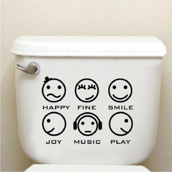 Kid-7 Cute Expression Toilet Stickers Creative Cartoon Faces Wall Sticker for Kids - BLACK 28.6 X 39CM