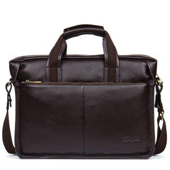 DANJUE High Quality Genuine Leather Men Handbags Brand Fashion Men'S Business Briefcase Bag Big Capacity Men Laptop Bag - BROWN