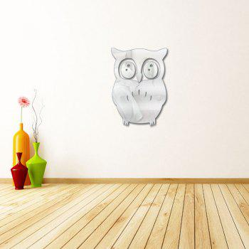 3D Removable Owl Shape Mirror Wall Art Sticker Mural Home Decoration -  SILVER