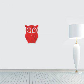 3D Removable Owl Shape Mirror Wall Art Sticker Mural Home Decoration - RED