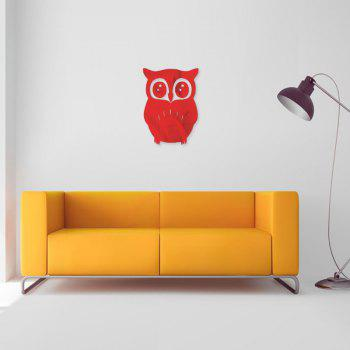 3D Removable Owl Shape Mirror Wall Art Sticker Mural Home Decoration - RED RED