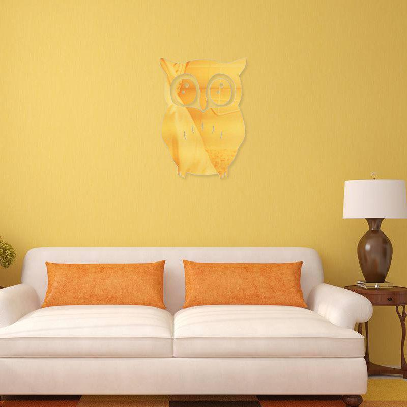 3D Removable Owl Shape Mirror Wall Art Sticker Mural Home Decoration - GOLDEN